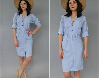 1980s 90s blue and white striped cotton shirtdress