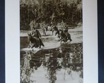 1920s Antique Australian Print of the Avon River (Mid-Coast Council), Available Framed, Horse Art, New South Wales Picture, Rural Australia