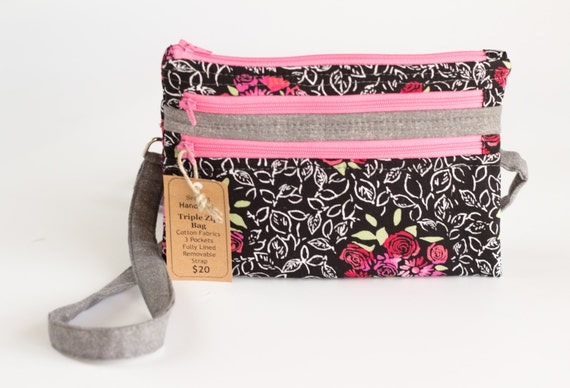 Red Roses Triple Zipper Pouch, Three Zipper Pouch, Zipper Wallet, Cross Body Bag, Red, Pink, Gray, and Black Floral Fabrics, Handmade