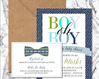 Boy oh boy Shower Invitation (digital file)