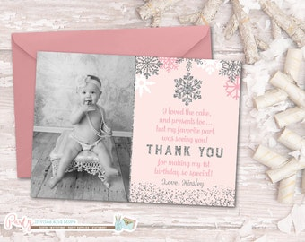Winter Onederland Thank You Card, Winter Thank You Card, Snowflake Thank You Card, Pink and Silver Thank You Card, First Birthday Thank You