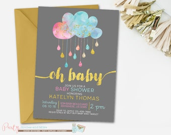 Gender Neutral Baby Shower Invitation, Sprinkle Baby Shower Invitation, Pink and Blue Baby Shower Invitation, Gold Baby Shower Invitation