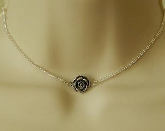 Silver Rose Choker, Rose Charm Choker Necklace, Silver Necklace, Silver Pendant, Silver Rose Necklace, Adjustable Necklace