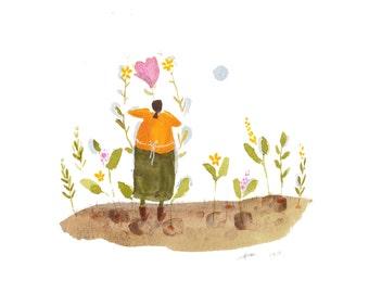 ORIGINAL whimsical painting, scandinavian folk art, garden illustration, woman gardening, naive wall art