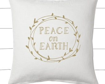 Gold and White Peace On Earth Christmas Pillow and Insert Christmas Decoration Christmas Saying Holiday Pillow Red White Christmas