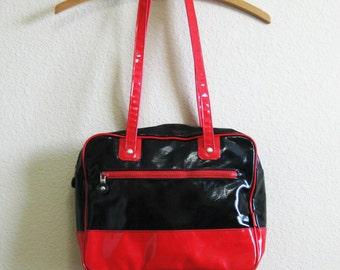 Red Black Handbag ITALY Vinyl Vegan 1970s Mod Handbag FIORUCCI Shoulder Purse