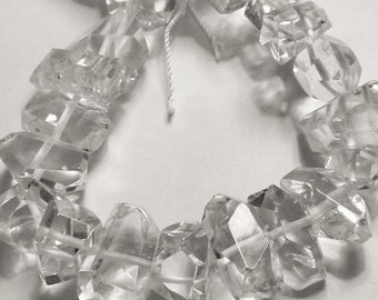 Crystal quartz faceted nuggets.  Select a size: 10mm-24mm.