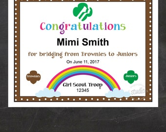 Girl Scout Bridging Certificate - Brownies to Juniors {Instant Download}, Girl Scout Printable, Girl Scout Leader, Fillable PDF