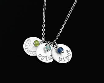 Mother's Necklace, Silver Name Necklace, Childrens Birthstone Necklace, Children Name Charm, Grandma Necklace, Mom Jewelry, Gift for Wife