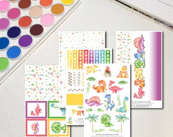 Rainbow Dinosaurs Collection Whimsical Watercolor Planner Sticker Sheets, The Ones with Rainbow Dinosaurs Collection
