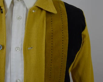 Vintage 1960s Yellow Velour Paneled Shirt Jac by Gama Size Extra Small/Small