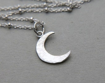 Crescent Moon Necklace, Moon Necklace, Sterling Silver Half Moon necklace, Celestial Necklace, Celestial Jewelry, Silver Crescent Necklace