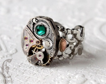 Steampunk Industrial Silver Filigree Adjustable Ring with Vintage Silver Guilloche Stripe Etched Watch Movement, Emerald Swarovski Crystal