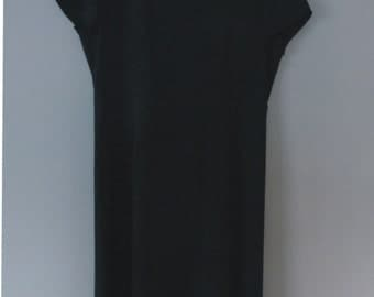 90s Laura Ashley dress. XL size. Classic black long polyester shortsleeved dress, fully lined. In excellent vintage collection.