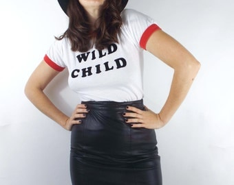 Vintage High Waist Black Leather Mini-Skirt -- Size 26