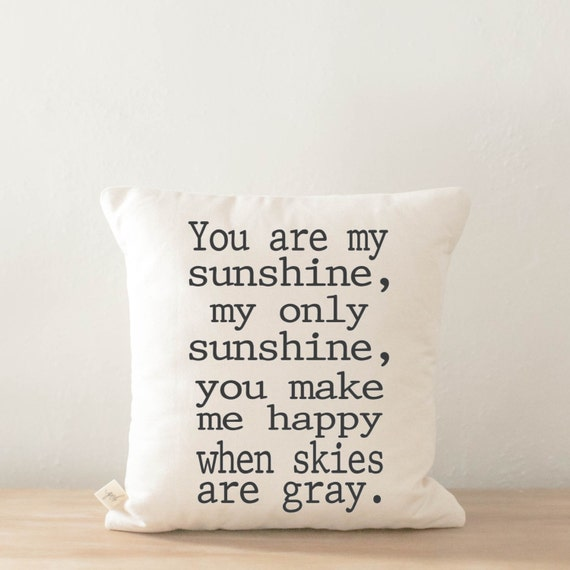 Throw Pillow - You Are My Sunshine, calligraphy home decor, wedding gift, engagement present, housewarming gift, cushion cover, throw pillow
