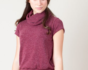 Cropped Turtleneck, Cropped Sweater, Red Sweater, Pullover, Cute Sweater, Cozy Sweater, Warm Sweater, Burgundy, Maroon, Dark Red, Wine