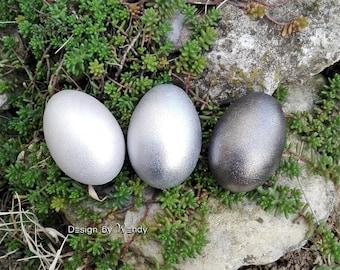 Silver Easter eggs, Easter basket stuffers for Easter decorations, Waldorf toys natural wooden eggs, Easter egg hunt, shimmering silver