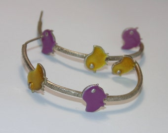 SE177 Cute New  Artisan Asymmetrical Sterling Silver Purple Gold Birds Tweets Twitter Tweet Birdie Hoop Hoops Earrings .925 Jewelry For Her