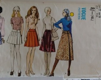 """Vogue #7874 Vintage 70's Misses' Skirt Pattern A-line skirt in four lengths Pleated and Plain Size UK 12 Waist 27"""""""