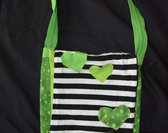 Stripes and Green Hearts Purse
