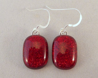 Red Dichroic Fused Glass Dangle Earrings, Dichroic, Fused Glass, Fused Glass Earrings, Glass Earrings, Dichroic Earrings, Dangle, Red