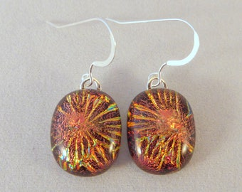 Copper Orange Gold Dichroic Fused Glass Dangle Earrings, Fused Glass, Fused Glass Earrings, Glass Earrings, Dichroic Earrings, Dangle
