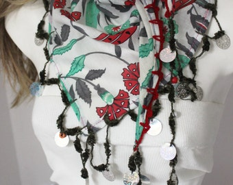 Turkish scarves, Ethnic Shawl, White triangle scarf, Turkish ethnic scarf, Christmas gift, Hippie scarf, Handmade scarf, Coins decorations