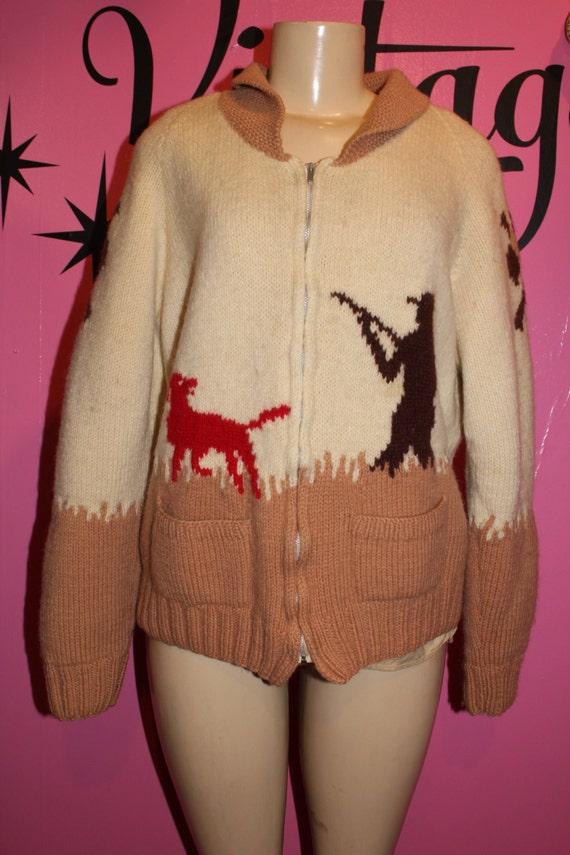 Vintage Cowichan cable knit sweater Unisex XL Size