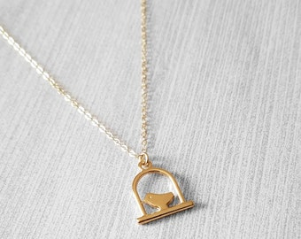 40% OFF!! Gold Bird Cage Charm Necklace, Dainty Delicate 14k Gold filled Chain