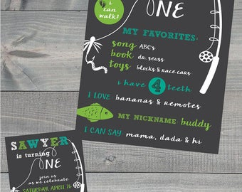 Gone Fishing First Birthday Invitation and One Year Poster Combo, Digital File ONLY