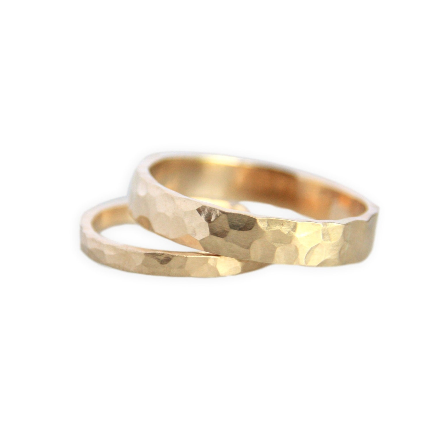 Gold Wedding Ring Set Handmade 14k Gold By TorchfireStudio
