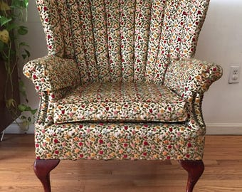 Floral Wing back Queen Anne Chair w/ nailhead trim