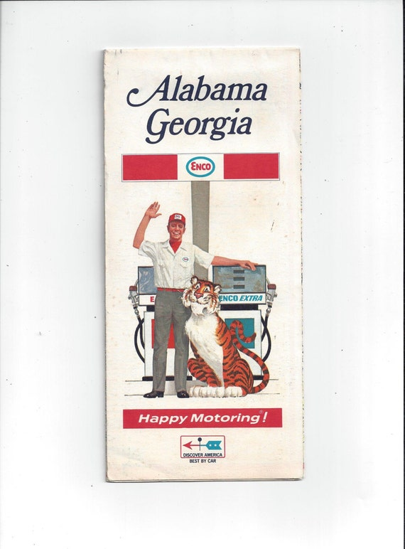 1969 Vintage Enco Travel Map Alabama and by VictorianWardrobe – Alabama Tourist Attractions Map
