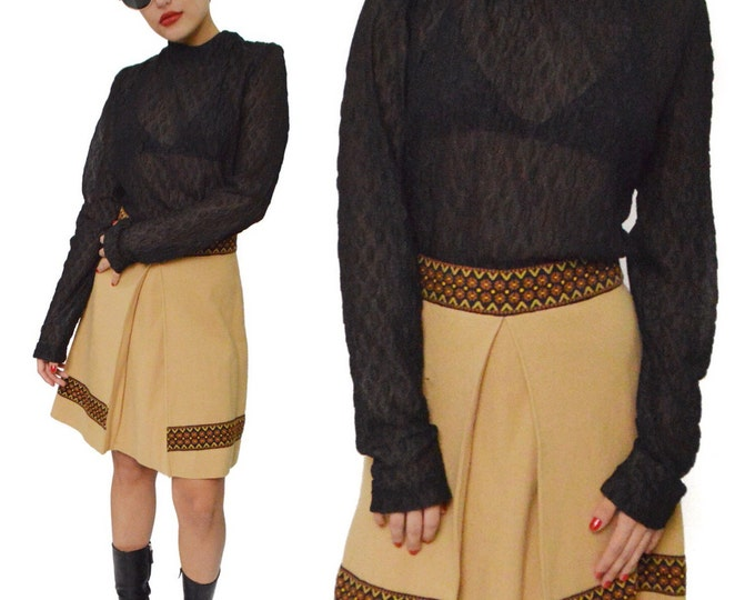 Vintage 70s Hippie Bohemian Sheer Lace Top Dress