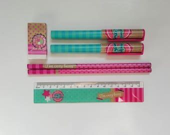 Stationery Set – Pencils Pens Ruler Eraser – Pink Blue