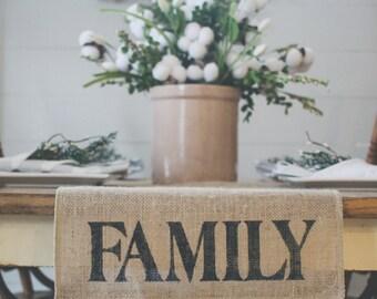Burlap Table Runner, Table Runner, Family Table Runner, Farmhouse styleTable Runner *Free Shipping*