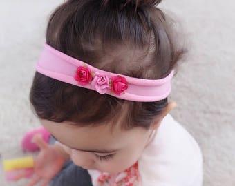 Soft Pink Headband, Baby Shower Gift, Summer Pink Headband, Just for Babies, Flowers Girl Headband, Pink Headband, Flowers Headband,Hot Pink