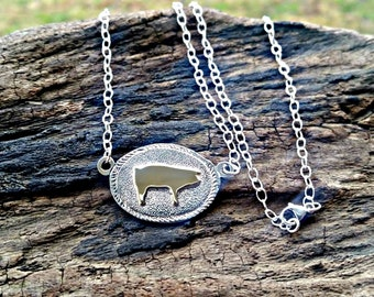 Show Pig Pendant, Silver Pig Necklace, Silver Pig Jewelry, Show Pig Jewelry, Brass Pig, Mixed Metal Jewelry, Farm Animal Necklace, Sow Hog