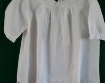 Hand Made vintage linen/cotton baby dress.