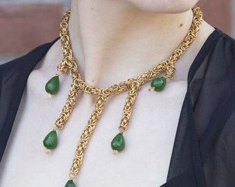 Custom Byzantine & Faceted Green Stone Necklace, Statement Necklace, Bib Necklace