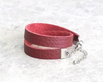 Wrap Leather Bracelet for Women, Minimalist Choker, Leather Wrap Red Bracelet, Leather Jewellery, Best Friend Gift