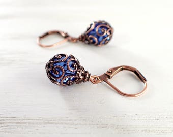 Bright Blue Copper Filigree Leverback Earrings made with Sapphire Blue Swarovski Crystals and Antique Style Filigree