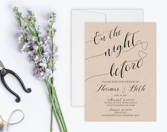 Calligraphy Rehearsal Dinner Invitation, Rustic Rehearsal Dinner Invitation Printable, Kraft The Night Before Invitation, Digital