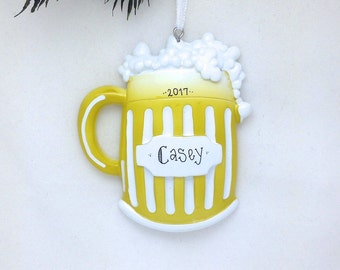 FREE SHIPPING Beer Mug Personalized Christmas Ornament / Beer Lover / Hand Personalized with a Name or Message