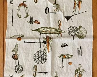 Mid Century Linen Tea Towel- Kitchen Decor- Vegetables