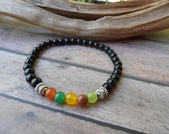 Chakra Bracelet,Womens Chakra Bracelet,Healing Stone Bracelet,Womens Bracelet,Black Onyx plus Chakra Stones,Gift for Her,Chakra Beads