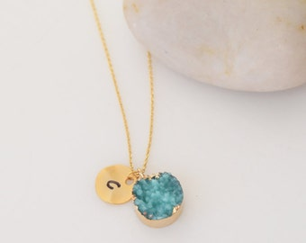 Blue Druzy Necklace, Gold Jewelry, Personalized Jewelry, Gold Necklace