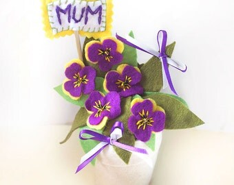 Personalised Flowers, Felt Pansies Flower Pot, Mothers Day Gift, Viola Flower Arrangement, Purple Pansy Birthday Present for Mum, Desk Decor
