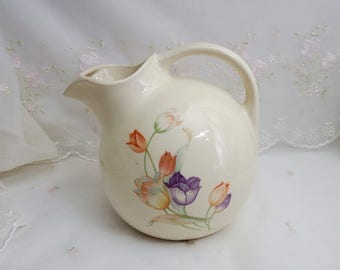 Universal Potteries, Empress Ivory, Round Pitcher with Tulips